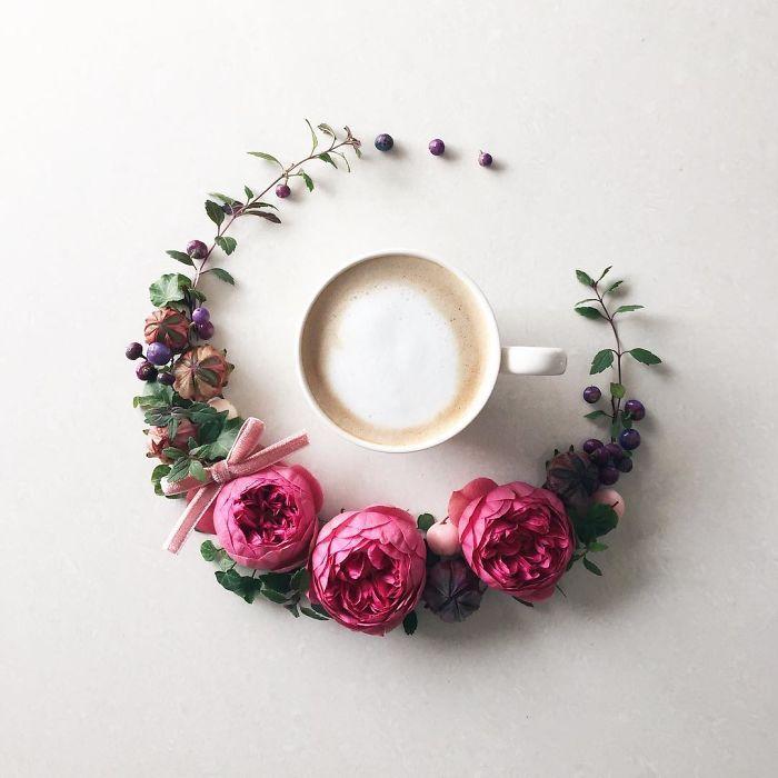 @edoestudio  La artista japonesa Sawa tiene dos pasiones, las flores y su #café mañanero. Instagram es su diario para presentar entre arreglos florales que ella misma hace, el café que se toma cada día.  #diseño #arte