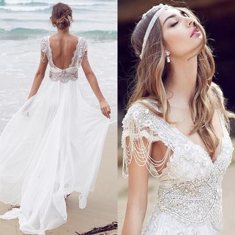 Sexy Beading A Line Chiffon V-neck Long Beach/Coast Wedding Dresses,Summer Weddi…