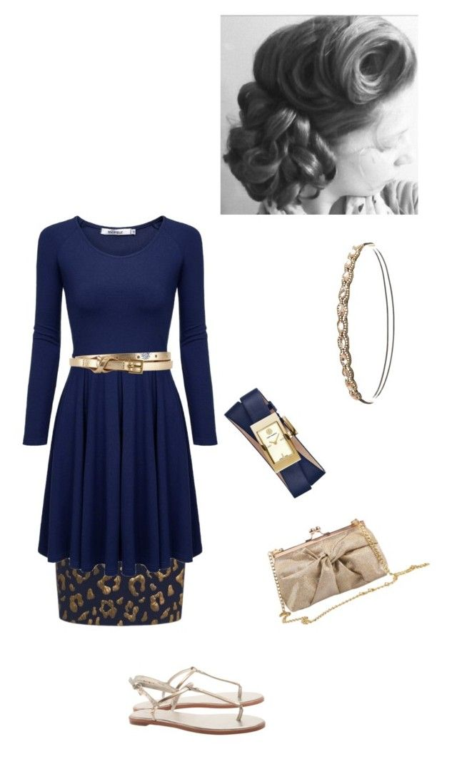 """Navy and gold"" by annalisa-victoria-morehouse ❤ liked on Polyvore featuring Tory Burch, Essentiel, J.Reneé, Charlotte Russe and John Lewis"