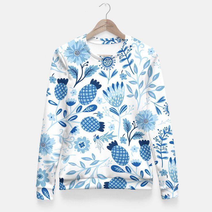 Blue Winter Flowers Taillierte Sweatshirt, Live Heroes