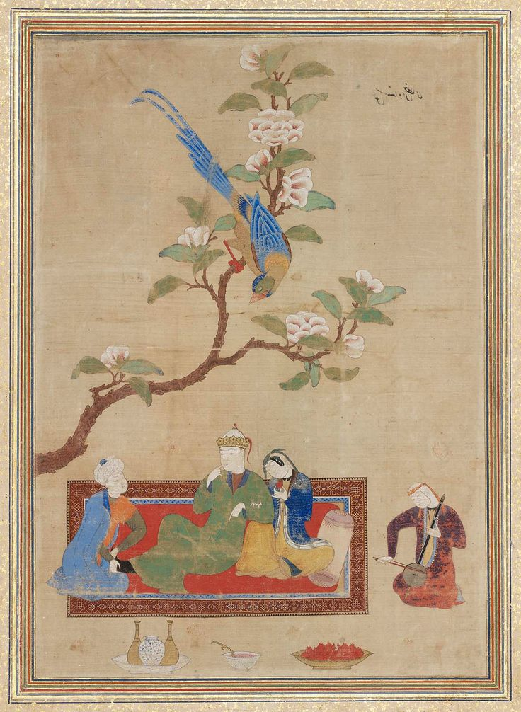 Prince and Lady under Flowering Branch Page from an album made for Prince Bahram Mirza  Persian Timurid Recto early 16th century; verso about 1420–40; mounted in album about 1544–45