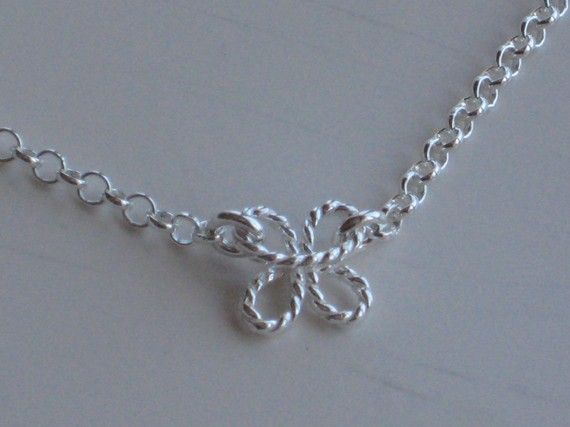 Sterling flower/butterfly necklace by BeadBashByMarie on Etsy, $30.00