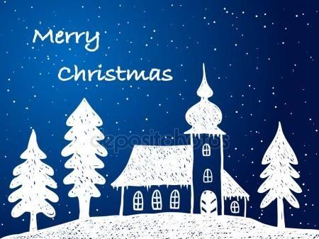 Chiesa di Natale con la neve di notte - illustrazione a mano