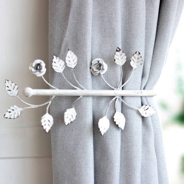 Dibor Antique White Leaf Curtain Tie Back ($25) ❤ liked on Polyvore featuring home, home decor, window treatments, curtain rods, antique white curtain rod, window tiebacks, leaf home decor and window tie backs