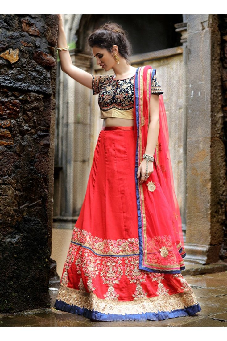 Salwar Web Red Georgette Wedding Wear Multi Thread Embroidery Work Lehenga Choli