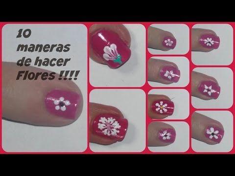10 formas de hacer flores en las uñas !!!! - YouTube