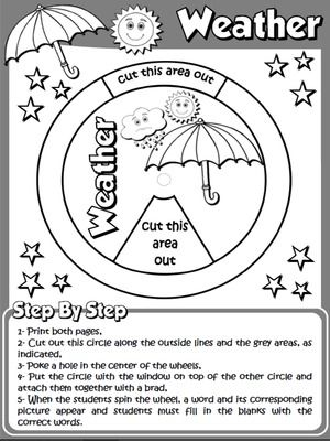 the weather worksheet 1 page 2 b w version funtastic english 1 1st graders pinterest. Black Bedroom Furniture Sets. Home Design Ideas