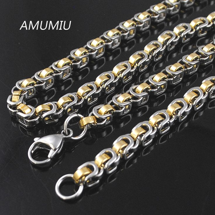 AMUMIU 45/50/55/60/65/70cm 316L Stainless Steel Men Chain Necklace Silver/Gold/Black Byzantine Box Chains 5.5mm HN073 //Price: $US $9.49 & FREE Shipping //     #hashtag2