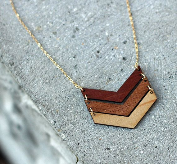 OMBRE THREE CHEVRON Wood Necklace // salvaged wood // by WOODKEEPS