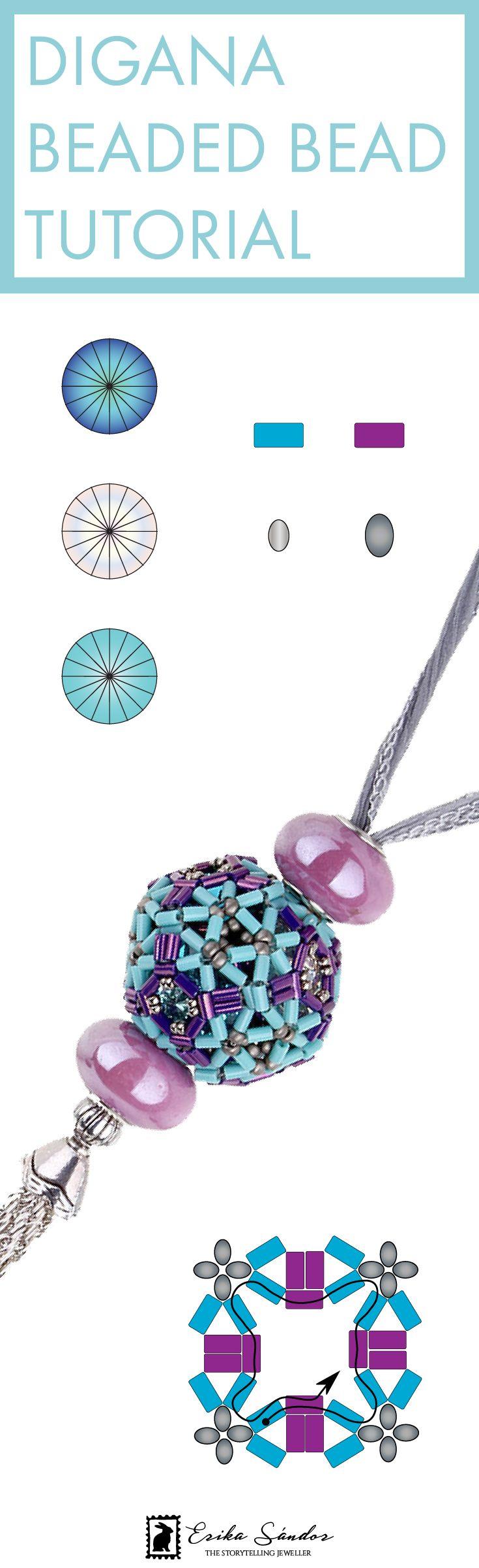 Beaded bead by Erika Sandor The Storytelling Jeweller. Beadsmith Inspiration Squad. Swarovski cabochon rivoli fancy stones, Miyuki bugle beads, Japanese seed beads. Beading pattern / tutorial / schema / instructions. DIY, creativity, hobby, handmade jewellery / jewelry, arts and crafts, blue and purple necklace pendant. Beadweaving / bead art. Art teacher.