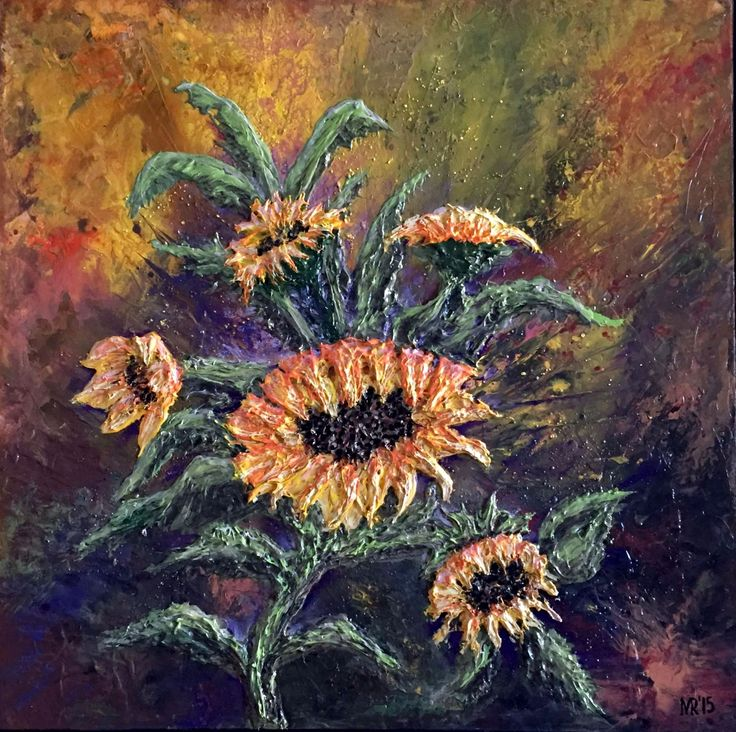 """Sunflowers""  c/a, palett-knife, picture by Marina RAYKOVA"