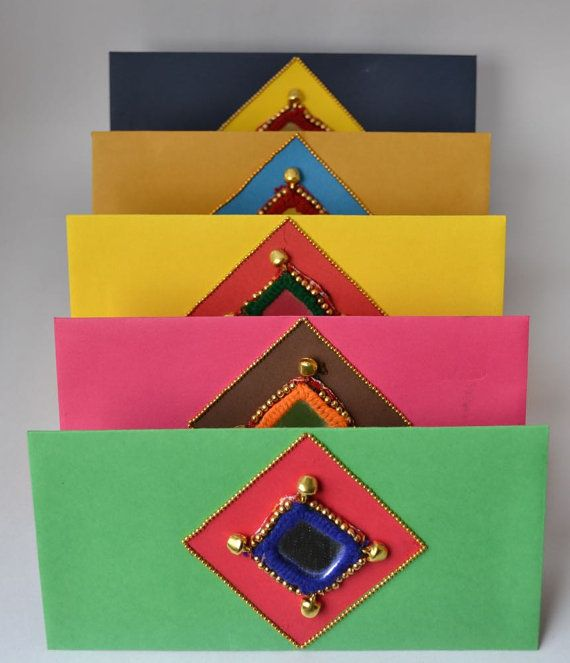 Pack of 5 Money Envelopes for Weddings and Invitations by Qarigar - Rajasthani mirror work on paper
