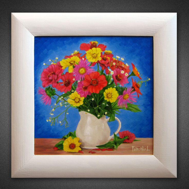 Oil painting ORIGINAL PAINTING Painting on canvas Flower painting Small canvas art Flower wall art Gift for her Realism Wildflowers Framed
