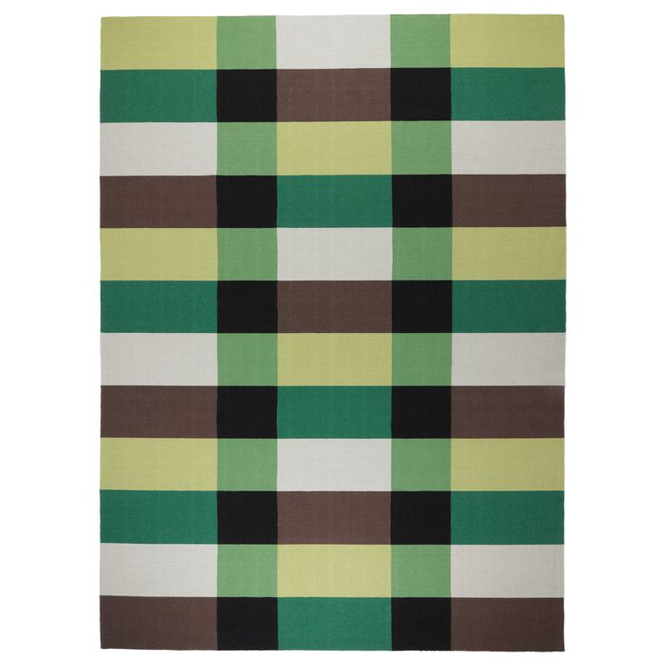 STOCKHOLM Rug, flatwoven, checkered, green