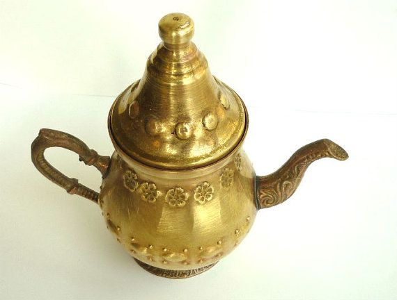 Antique Brass Teapot Small teapot Mediterranean by GrandmasDowry, $31.99