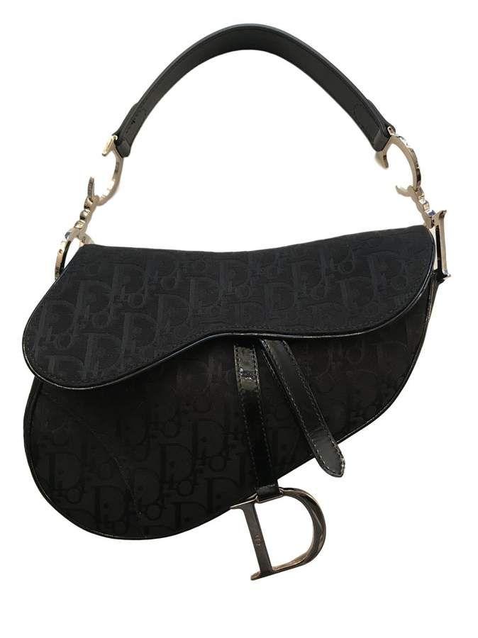 Christian Dior Vintage Saddle Black Cloth Handbag Dior Saddle Bag Saddle Handbags Dior Handbags