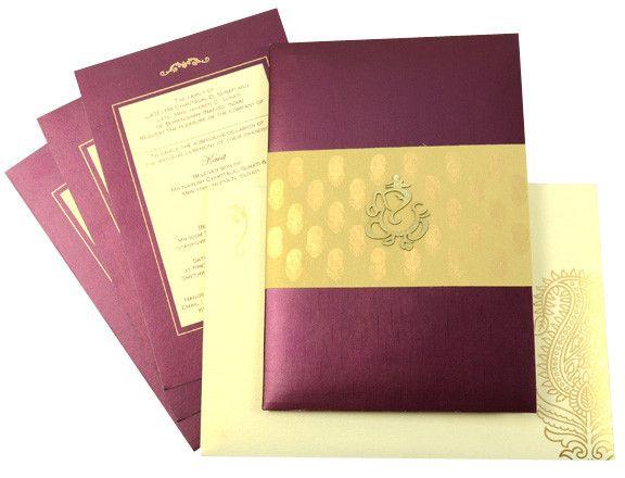 Purple & Gold Wedding Card by @Cardeva