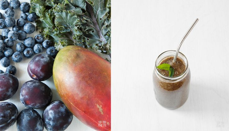 Green smoothie with purple kale, plums, mango, blueberries and bananas. Raw&vegan