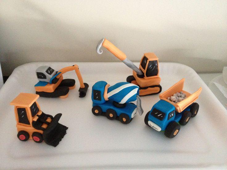 Trucks constructions fondant cake topper