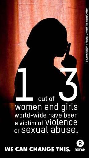 1 out of 3 women and girls world-wide have been a victim of violence or sexual abuse. We have the power to change this! #IWD pic.twitter.com/r9M4ShlUjf Read more: 4 killer facts why Oxfam is supporting International Women's Day http://oxf.am/w6C #IWD2014