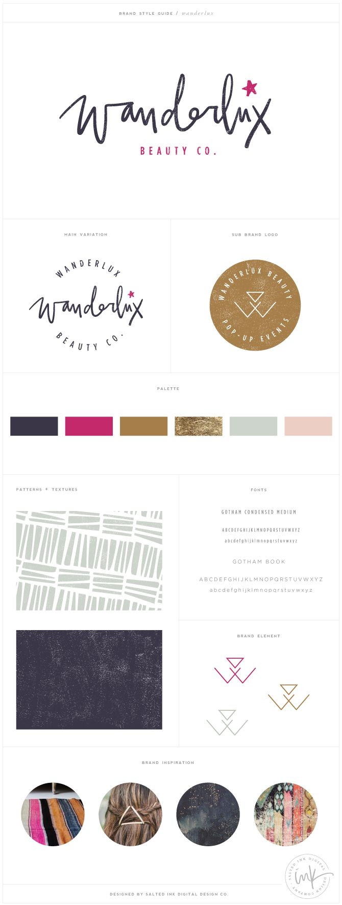 Wanderlux Beauty Co Brand Design by Salted Ink | Brand Stylist and Website Designer | View the full brand design at www.saltedink.com