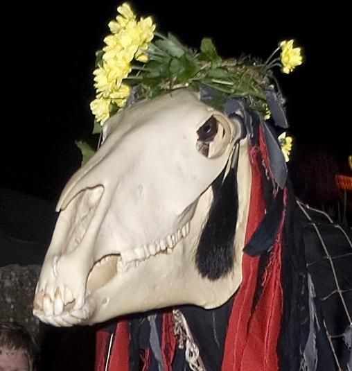 During the evening of Mazey Eve on St John's Eve Penglaz the Penzance 'Obby 'Oss makes an appearance for the Golowan Festival in Cornwall.