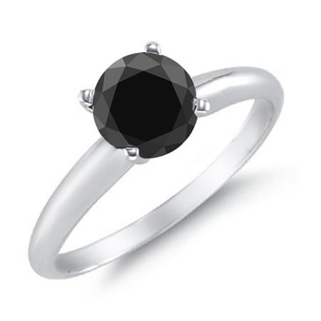 3 CT Black Diamond Solitaire Ring 14K White Gold in Size 5 ( $599.9914K White, Solitaire Rings, Diamonds Rings, Diamonds Solitaire, Rings Online, Black Diamonds, Rings 14K, Engagement Ring, White Gold