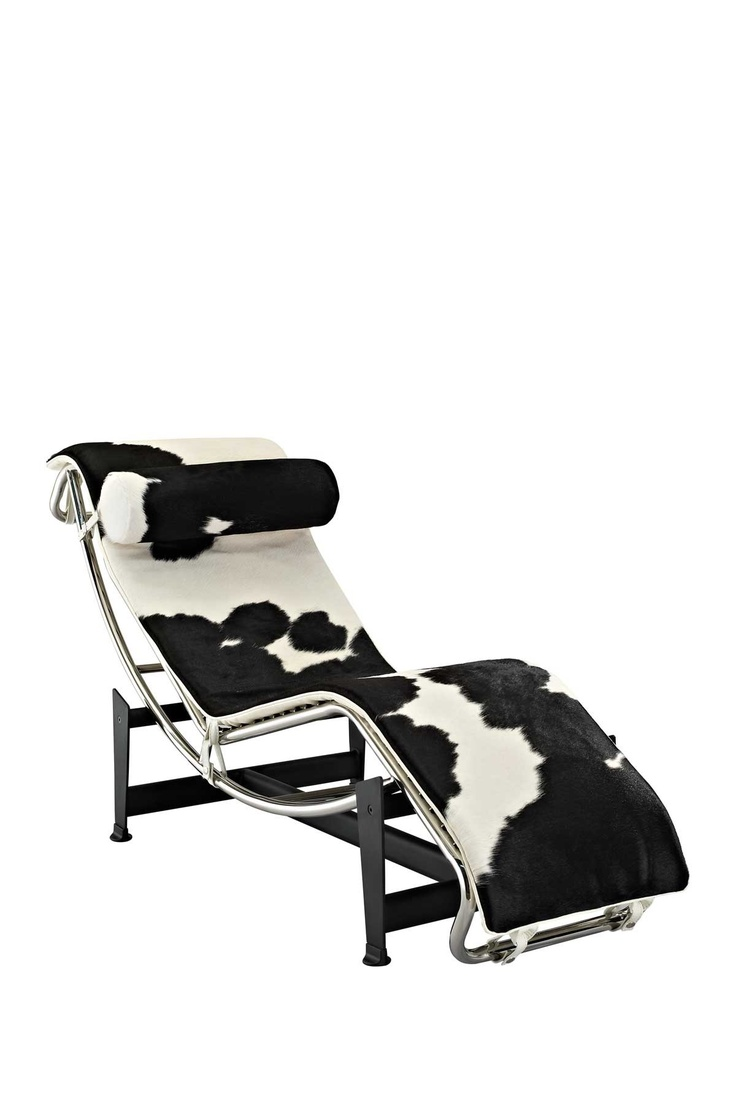 le corbusier pony hide chaise lounge chair modern furniture designretro