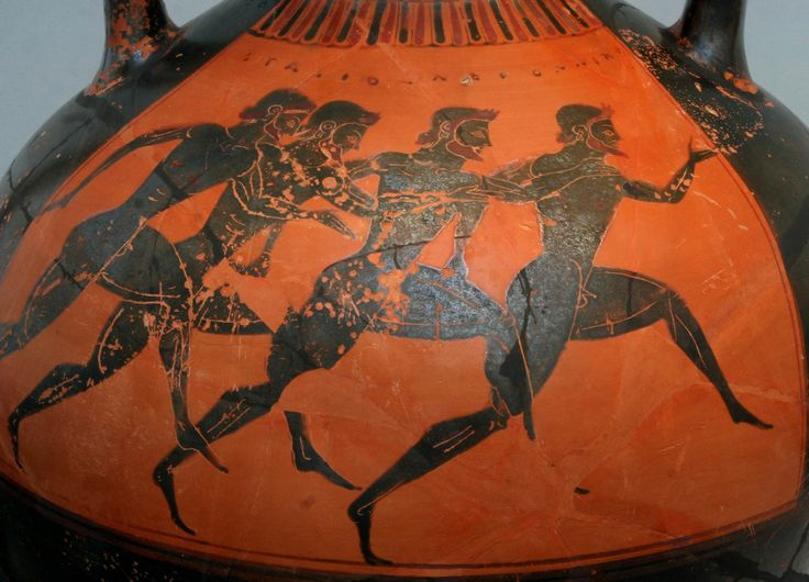 The origin of the Olympic games:Ancient Greece,776 BC.    The Ancient Greek Olympic Games were a series of competitions held between representatives of several city-states and kingdoms in Ancient Greece. These games featured mainly athletic but also combat and chariot racing events. During the games, all conflicts among the participating city-states were postponed until the games were finished. Ancient Greek mythology states that Heracles and his father Zeus were the founders of the games.Etruscan Games, Ancient Greek, Etruscan Vases, Olympics Games, Competition Held, Chariot Racing, Greek Olympics, Ancient Greece, Greek Vases Sport