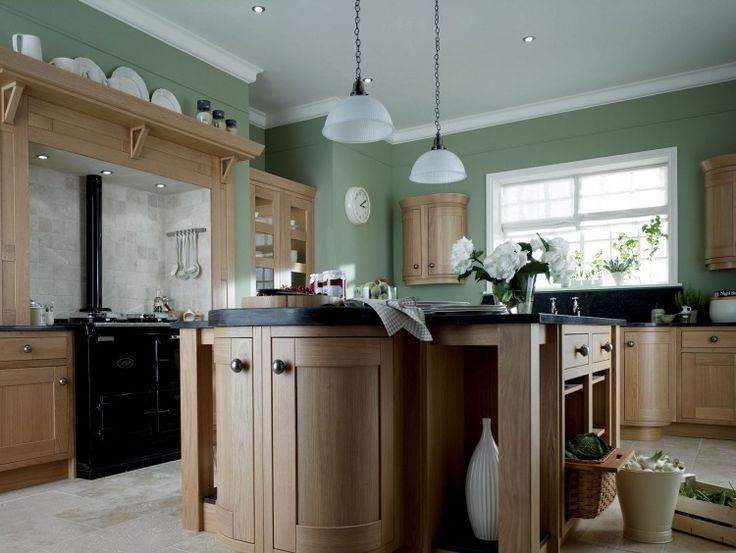 peinture cuisine en vert gris ple et armoires en bois