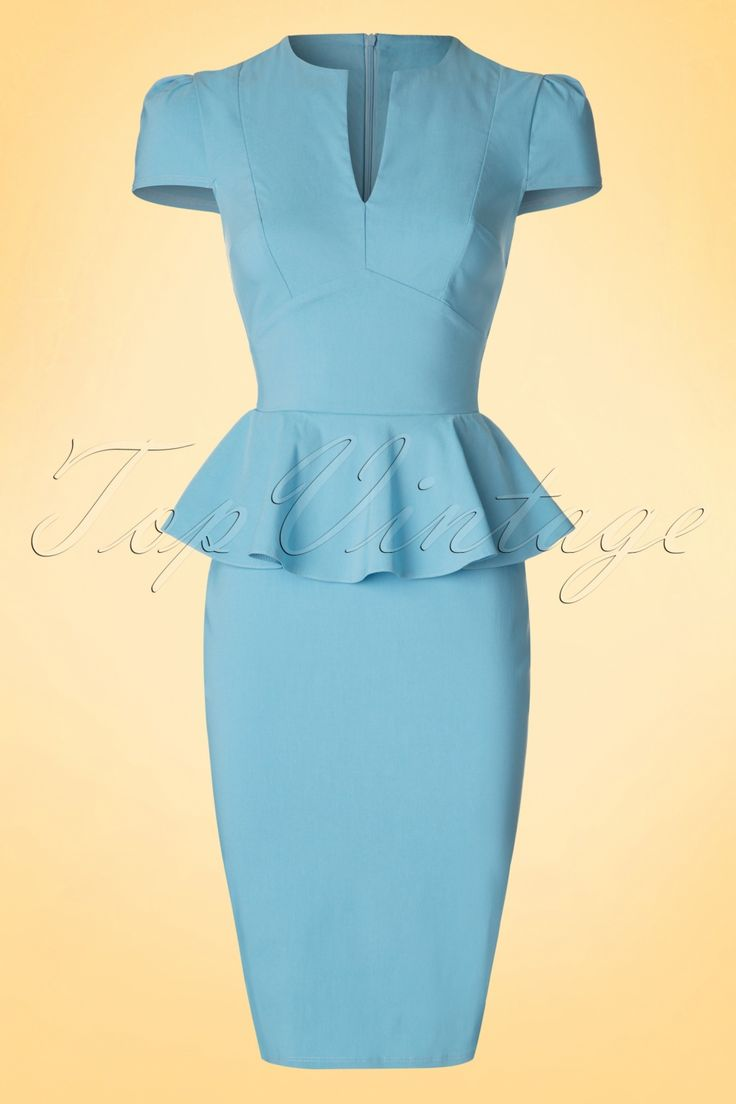Go for a super feminine power look with this gorgeous50s Carry Peplum Dress!The fitted style features a sexy V-neck and a flattering peplum waist to hide any tummy flaws and give you a beautiful curvy silhouette at the same time! Made from a stretchy sky blue viscose blend which fits perfectly without marking possible problem areas. Sexy yet sophisticated; with this dress you're ready for basically everything, you go girl!   V-neckline Pleated cap sleeves Hidden zipper at the back...
