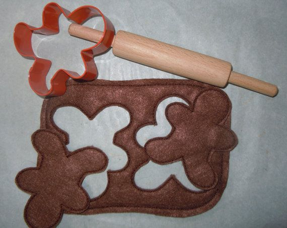 Felt Play Food Gingerbread Dough with Cutouts by SewPinkDesigns