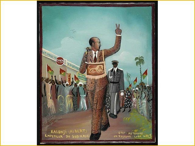 Tshibumba Kanda Matulu, Albert Kalonji roept zichzelf tot keizer uit van het Luba koninkrijk Zuid Kasaï. Collecties online - Tropenmuseum