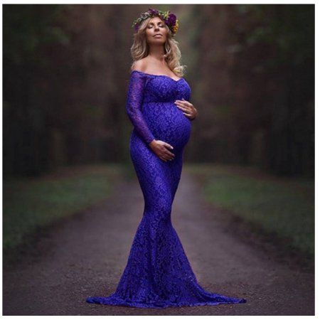 bfbc7f89f0ee3 Buy DYMADE Women's Off Shoulder Long Sleeve Lace Mermaid Maternity Gown  Maxi Photography Dress at Walmart.com
