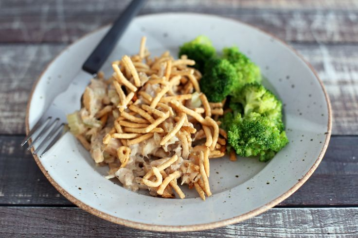 Chopstick tuna casserole is made with chow mein noodles, tuna, onion, celery, and cream of mushroom soup. Or substitute potato chips for the noodles.