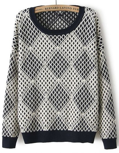Long Sleeve Diamond Patterned Knit Sweater