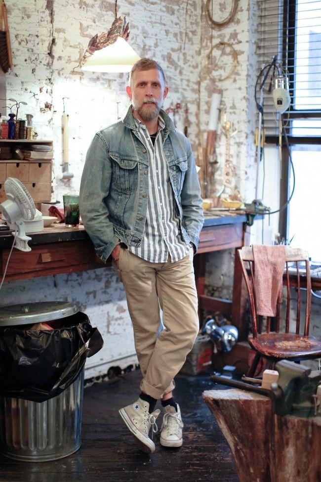 PHILIP CRANGI OF GILES & BROTHER denim jacket-I love the perfect khaki pants and sneakers