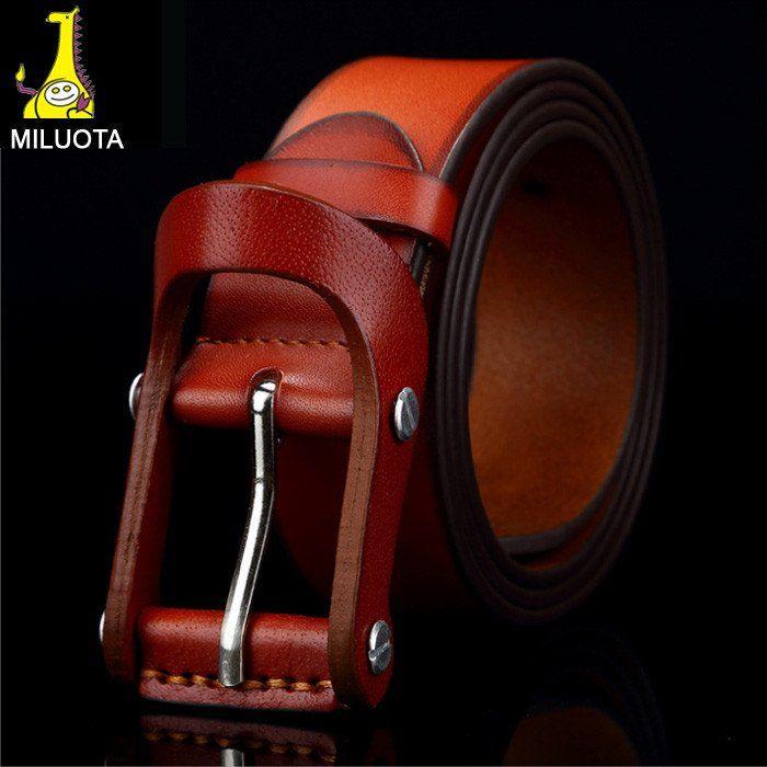 [MILUOTA] High quality 100% Genuine leather belts for men vintage fashion
