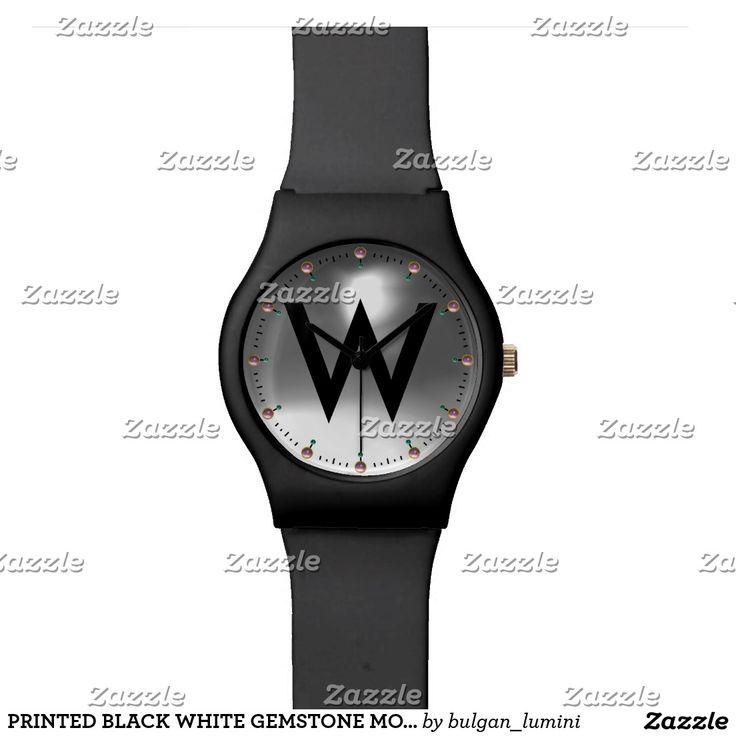 PRINTED BLACK WHITE GEMSTONE MONOGRAM WRISTWATCHES #gemstones #fashion #watch #accessory #gems #3d #geek #tech #jewel