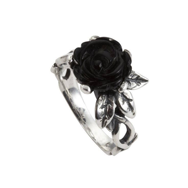 W Hamond Ring Whitby Jet And Silver Carved Rose Leaf Twist | W Hamond - The Original Whitby Jet Store Est.1860