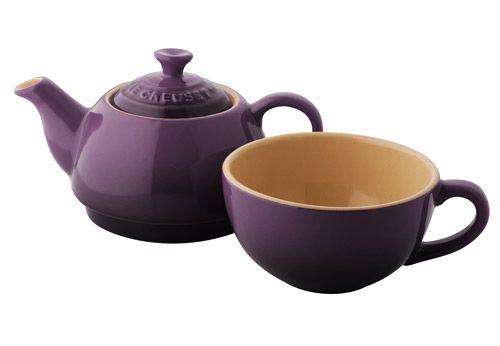 Single Serve Le Creuset Purple Teapot and Teacup (Tea Set)