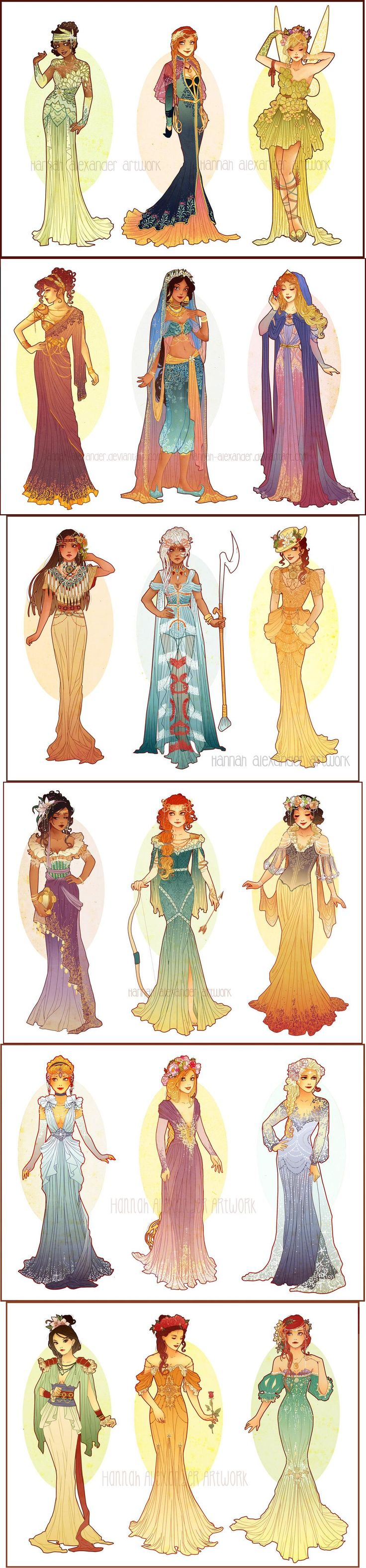 Art Nouveau Costume Designs by Hannah-Alexander