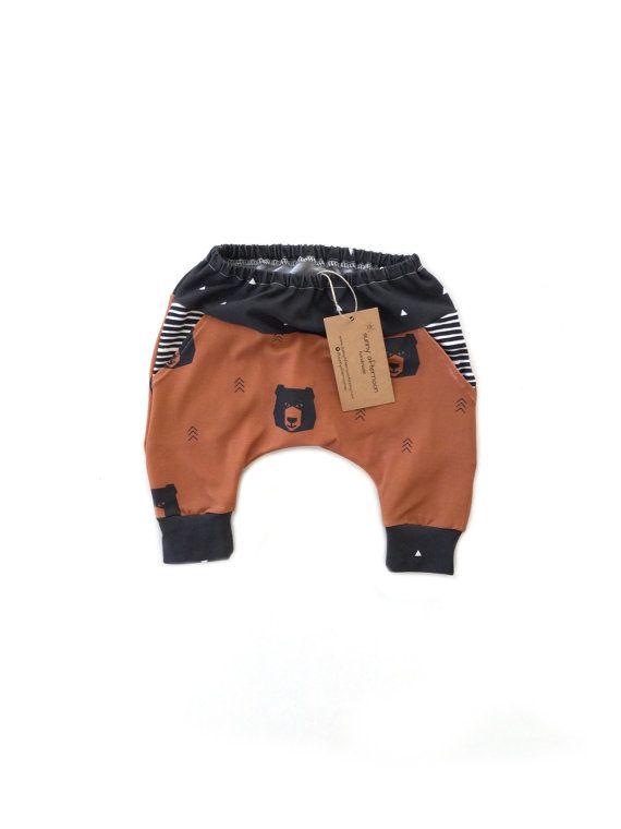 Pantaloni bambino, pantaloni bambino, vestiti del neonato, tasca pantaloni, bambino leggings, pantaloni harem, orso arrugginito, vestito bambino, attrezzatura di inverno NB - 3 anni