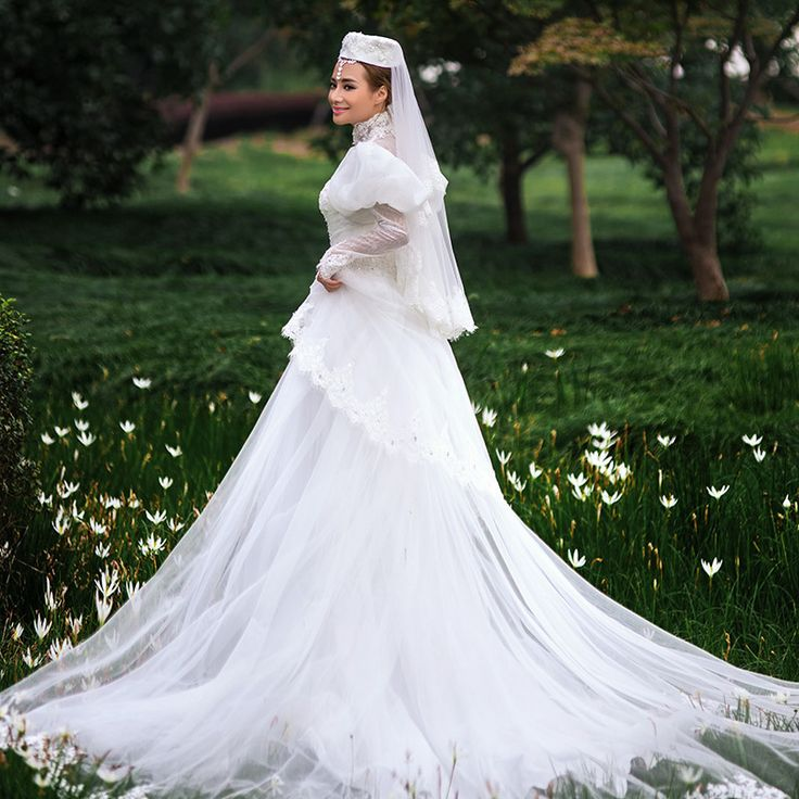 pregnant women wedding dresses high neck sweep train a line wedding dress with sleeves