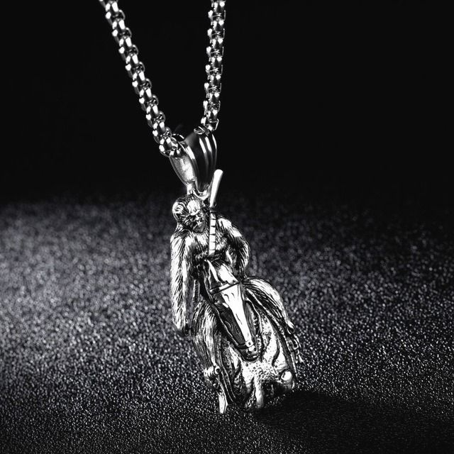 Daesar Stainless Steel Necklace Men Necklace Punk Skull Necklace Chain Silver