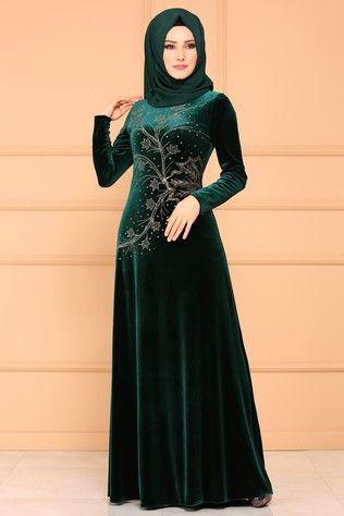 77ee9b8e00ff02 Yaprak Desenli Kadife Elbise YGS6180 Zümrüt
