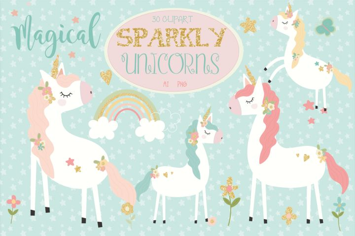 FREE Sparkly Unicorns Clipart By TheHungryJPEG