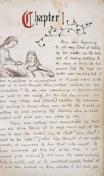 A page from the original manuscript.....Alice's Adventures Underground 1865