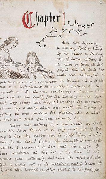 "A page from the original ""Alice in Wonderland"" manuscript... 'Alice's Adventures Underground' 1865."
