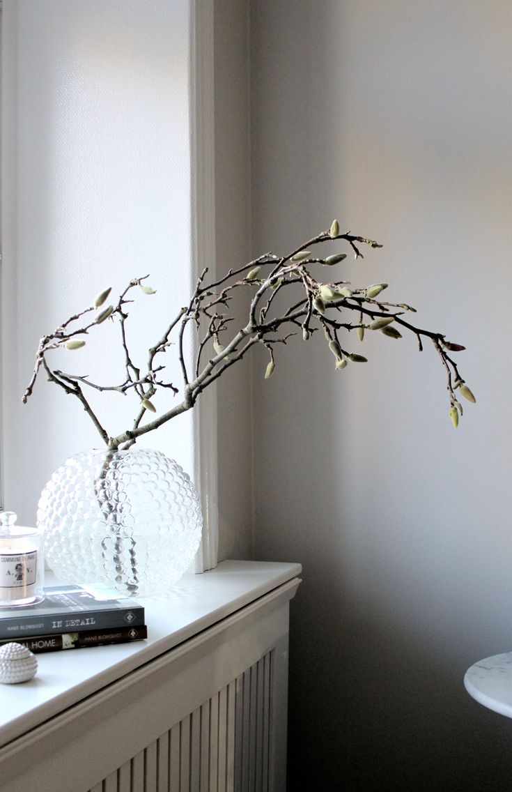 simple elegant magnolia branch and beautiful grey paint colour #home details ♥
